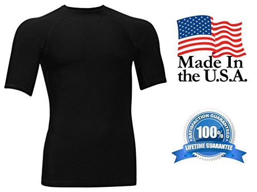 Rash Guard Compression Shirt For Men - USA Made Base Layer & Swim Shirt