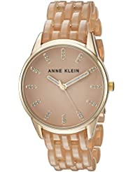 Anne Klein Womens AK/2616TNGB Glitter Accented Gold-Tone and Tan Colored Transparent Resin Bracelet Watch