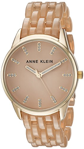 Anne Klein Women's AK/2616TNGB Glitter Accented Gold-Tone and Tan Colored Transparent Resin Bracelet Watch