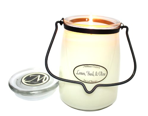 Milkhouse Candle Creamery Butter Jar Candle, Lemon, Basil and Olive - 16 Ounce