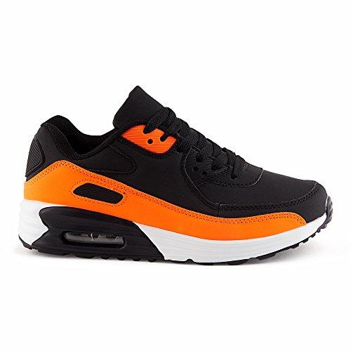 Schwarz orange Sneaker Sportschuhe w Dämpfung Damen Herren Fivesix Laufschuhe ncWvRaA6