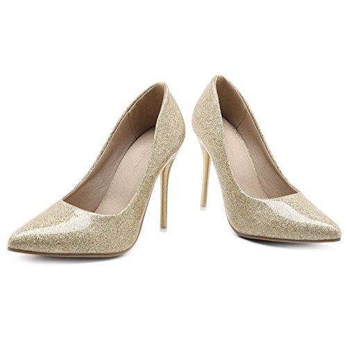 avec escarpins Stiletto Escarpins SJJH des habillés Bling taille brillants pour en or avec Materail grande une vqFf40