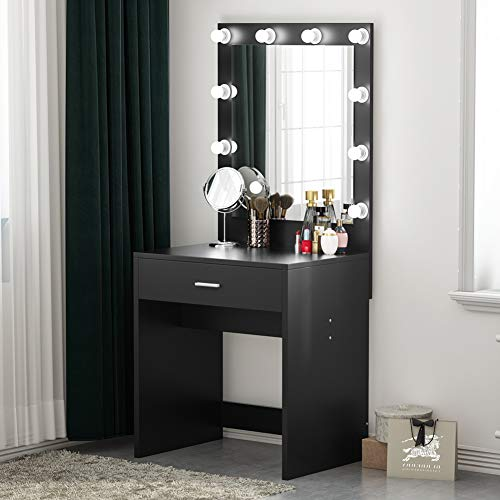 Tribesigns Vanity Set with Lighted Mirror, Makeup Desk Vanity Dressing Table Dresser Desk for Living Bedroom, Black (10 Cool White Bulbs)