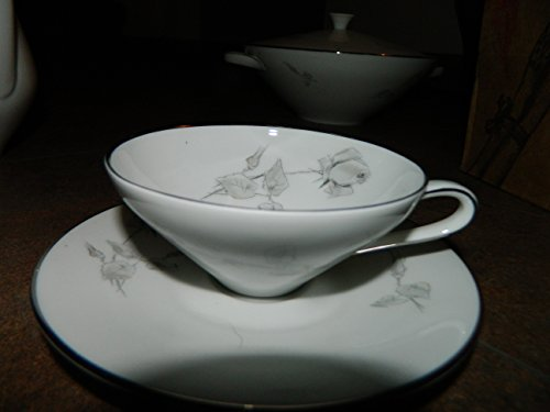 (HUTSCHENREUTHER Bavaria Germany CUP & SAUCER - Gray Rose China Pattern 31149/4 )