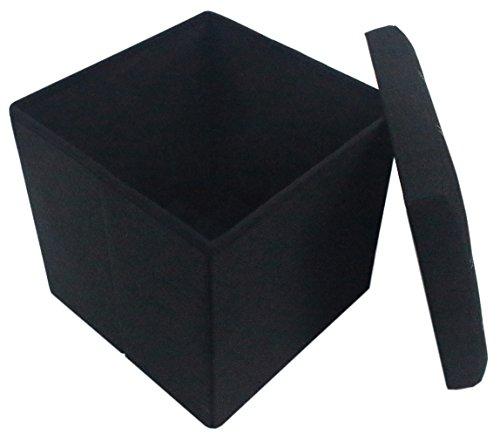 Premium Black Linen Folding Ottoman Foot Rest Stool Seat Footrest Shoe Storage Organizer Versatile Space-saving Bench - Cube 15