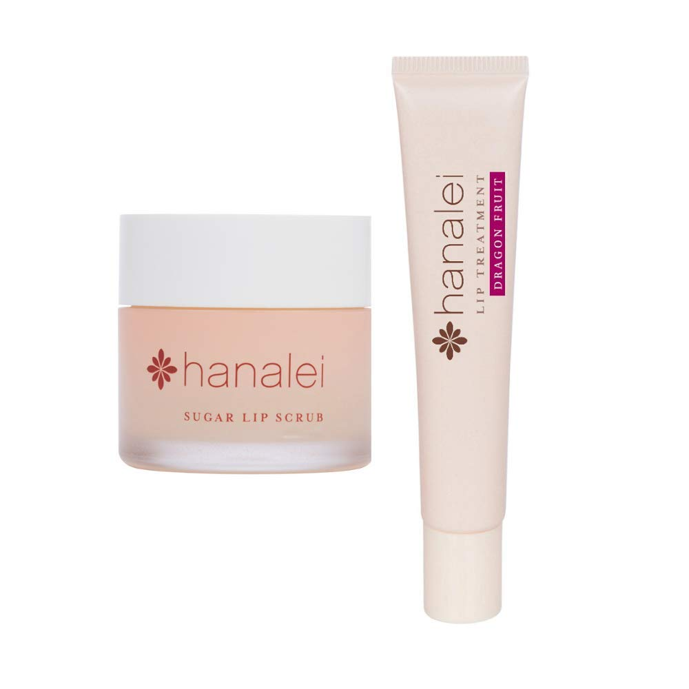 Hanalei Sugar Lip Scrub and Lip Treatment (Dragon Fruit) Bundle, Made with Raw Cane Sugar and Real Hawaiian Kukui Nut Oil (Cruelty free, Paraben free)