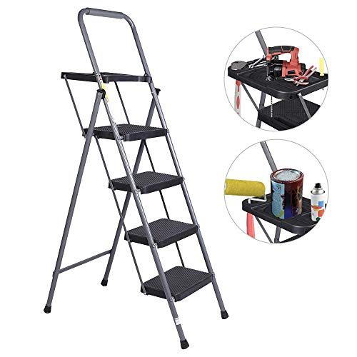 (VI-CO Folding 4 Step Ladder with Tool Project Tray and Wide Anti-Slip Platform, Portable Lightweight Painting Ladder 330 lbs Capacity)