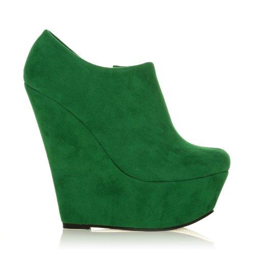ShuWish UK - Chaussures plateforme talon compensé très haut imitation daim Jade Grün Wildleder