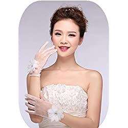 Ruiyuhong Short Tulle Flower Fingerless White Wedding Bridal Gloves GL003 (One Size, White/Tulle)