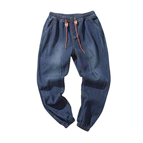 Uomo Da Scuro Slim 5xl Casual Lavato Hip In Fit Jeans Cotone Lavoro hop Junkai Pantaloni M Harem Blu pantaloni Stretch Vintage wSRpq