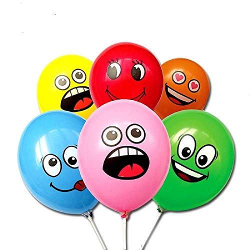 New Emoji Balloons 12 Inch Latex Assorted Colors Face Expression - Theme Party Birthday Decoration Event (100 Pack)