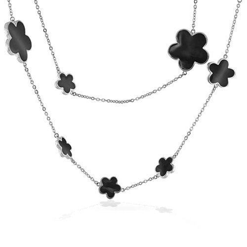 - Bling Jewelry Black Clover Flower Long Silver Plated Brass Station Tin Cup Chain Wrap Layer Necklace for Women 42 Inch