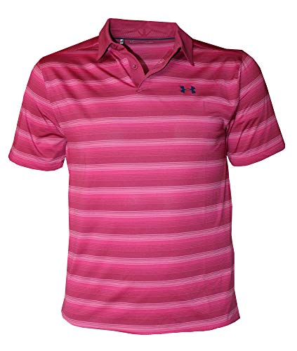 Under Armour Men's CoolSwitch Performance Striped Polo Shirt 1298947 (Charged Cherry, XL) ()