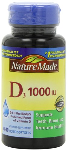 Nature Made, vitamine D3 1000 IU Gélules liquides, 100-comte