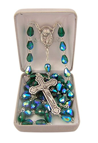 Catholic Green Tear Drop Glass Prayer Bead Rosary Necklace, 30 Inch