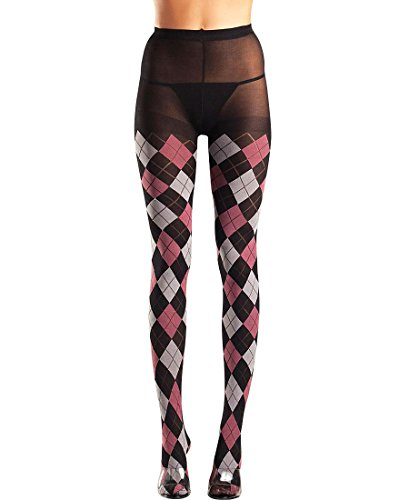Argyle Pantyhose - Be Wicked BW649Q Women's Classic Argyle Pantyhose Tights - Plus Size - Black/Fuchsia