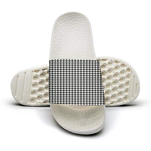 WZLAN Plaid Printing Small Houndstooth Black and White 3D Printed Mens Non-Slip Slippers Slide Sandals