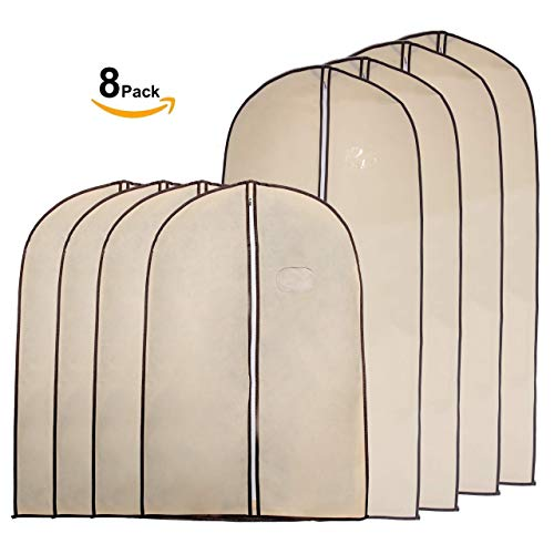Garment Bags by Home Zone - 8 Piece Multi Pack of Breathable Garment Bag Clothes Covers - Protect Garments, Suits and Costumes - Ideal for Travel - Coffee & Cream Finish - Includes 4 Medium & 4 Large by Home Zone