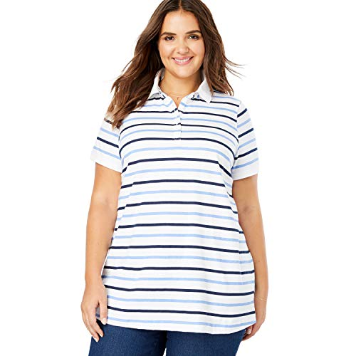 (Woman Within Women's Plus Size Perfect Printed Polo Shirt - French Blue Multi Stripe, M)