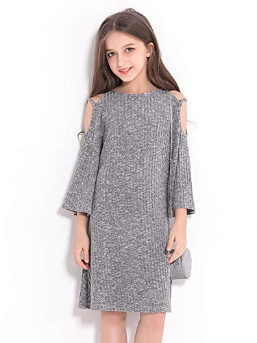 esses Girls' Line Dress Lace Trim Tiered Ruffles Long Sleeve Dress Shoulder Gray 130cm ()