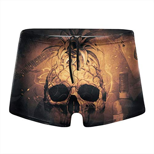 (FIGGIF Pineapple Skull Rum Guitar Poker Men Swimwear Briefs Boxer Short Beach Bikini Black)