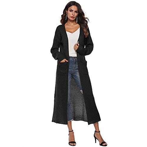 GOVOW Autumn Solid Cardigan for Women Long Sleeve Open Cape Casual Coat Blouse Kimono Jacket (US:8/CN:L,Black) ()