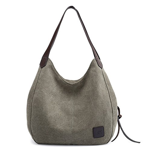 Buckle Large Hobo (Epsion Women Canvas Purse Hobo Satchel Stylish Handbag Top Handle Tote Bag Shoulder Armygreen)