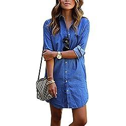 iShine Women's Casual Denim Blue Jeans Short Shirt Mini Dress Button Down Pocket Long Sleeve Tops Blouse, Blue, M/ 6 US