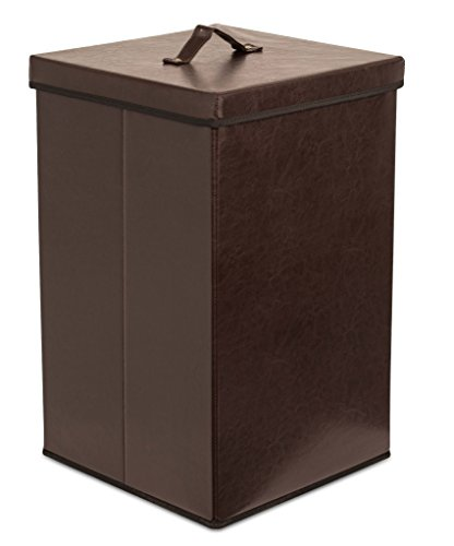 - Internet's Best Faux Leather Laundry Hamper with Lid | Single Load | Foldable Hamper Basket | Removable Lid | Brown