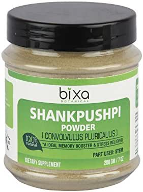 Shankhpushpi Powder (Convolvulus pluricaulis) - Memory Booster & Stress Reliever (200g / 7 Oz) | Herbal Supplement for Brain Function Support (Brain Tonic), Reduce Hyper Activeness and Anxiety