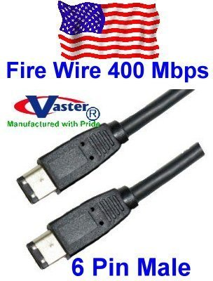 FIREWIRE IEEE1394 CABLE, IEEE 1394a 400 Mbps Firewire Cable, 6P to 6P, 10 Ft