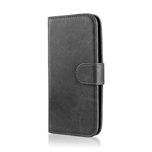 32nd® Schutzhülle handytasche im Brieftaschenstil aus PU-Leder, für LG K7, inklusive displayschutzfolie, reinigungstuch und eingabestift - Schwarz