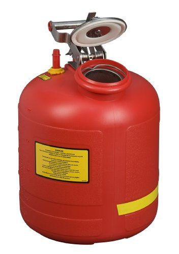 Justrite 14565 Polyethylene Safety Liquid Disposal Can with Stainless Steel Hardware and Built-In Fill Gauge, 5 Gallon Capacity, Red ()