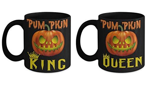 Spooky Scary Halloween Jack-O-Lantern Coffee Mug Set-Pumpkin King Queen Couple -