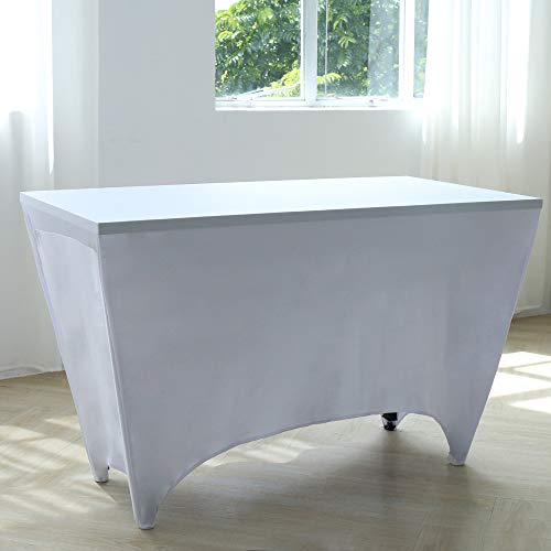 Zdada White Spandex Table Cloth 6ft Rectangular Stretch Table Cover for Party Trestle Table