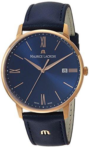 Maurice Lacroix Men's 'Eliros' Quartz Gold and Leather Casual Watch, Color:Blue (Model: EL1118-PVP01-411-1)