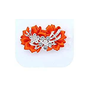 loveinfinite Artificial Diamond Silk Ribbon Flowers Wrist Corsage for Bridesmaid Bracelet Flower Bracelet Hand Mariage Wedding Ceremony Party,Orange 7