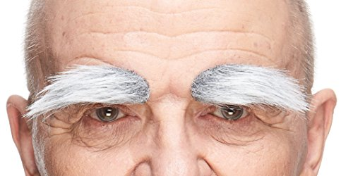 Mustaches Self Adhesive, Novelty, Fake Eyebrows, Gray with White Color