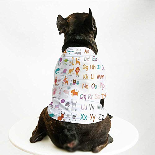 YOLIYANA Kids Animal Cute Pet Suit,Colorful Alphabet Zoo Letters Learn to Read Mr.Bear Tiger Iguana Monkey Unicorn Ant Print for Small Medium Large Size Dogs Cats,L