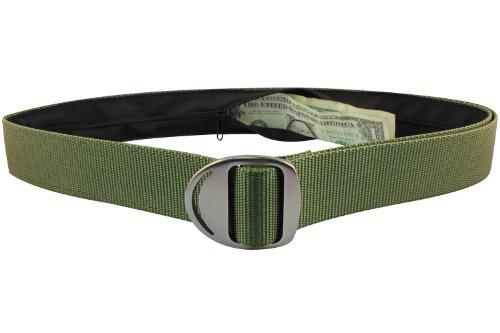 Bison Designs Crescent Money 38mm USA Made Gunmetal Buckle Travel Belt, Olive, Large/42-Inch