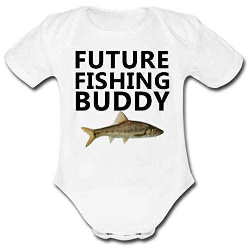 - UlanLi Child Bodysuits Future Fishing Buddy with Bass Baby Sleeve Romper White