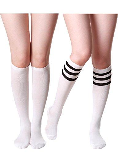 HASLRA Women's Knee High Socks 2 Pairs (White Mix) -