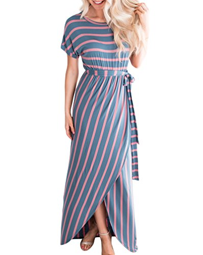 MEROKEETY Women's Striped Front Slit Long Dress Casual Short Sleeve Maxi Dress with Belt - Front Long Dress