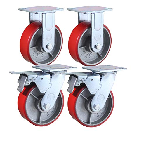 "6"" x 2"" Heavy Duty Metal CASTERS with Poly Tread - Set of 4 Wheels, 2 Fixed, 2 Swivel w/Brakes - Swivel Casters are Locking - Foghorn Construction"