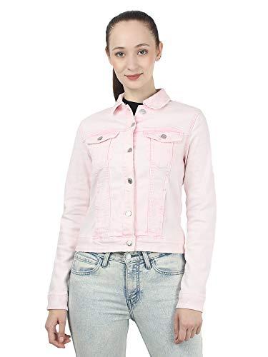 MansiCollections Women's Solid Trucker Full Sleeve Pink Denim Jacket