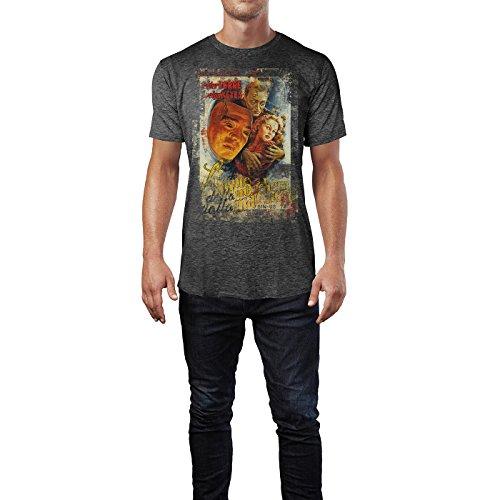 SINUS ART® The Face Behind the Mask Herren T-Shirts stilvolles dunkelgraues Cooles Fun Shirt mit tollen Aufdruck