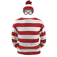 Adult Funny Sweatshirt Hoodie Where's Waldo Now Costume Outfit Glasses Hat Cap Suits