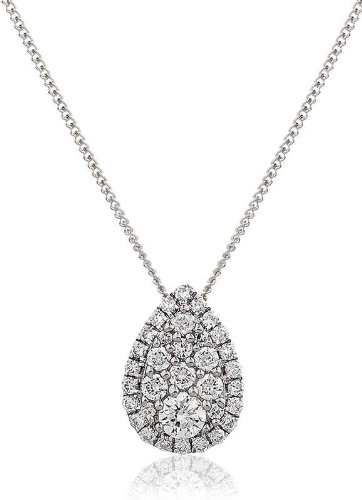 0.25CT Certified G/VS2 Cluster Diamond Pear Shape Pendant in 18K White Gold