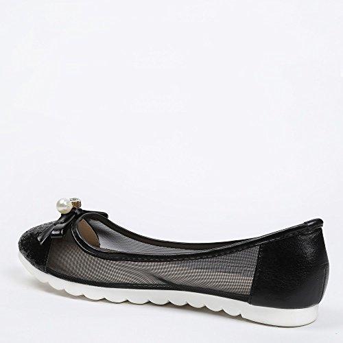 in Ballerine Maelise suola nero e Nero 1 con rete gomma Ideal Shoes effetto parte H5xzqgfn