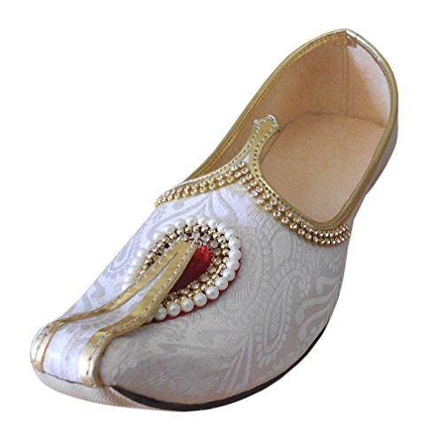 Kalra Creations - Zapatillas de estar por casa de Seda para hombre blanco